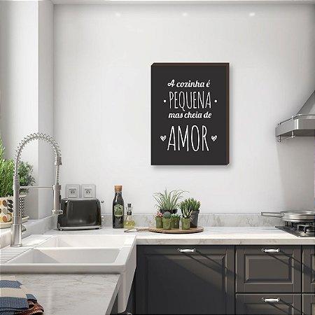 Quadro decorativo A cozinha é pequena com corações - fundo preto [BoxMadeira]
