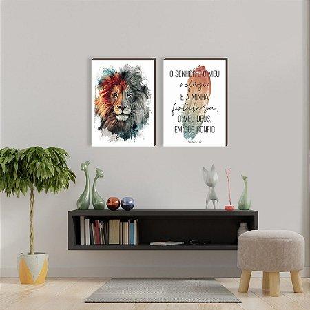 Dupla de quadros Leão colorido pincelada BRANCO [boxdemadeira]