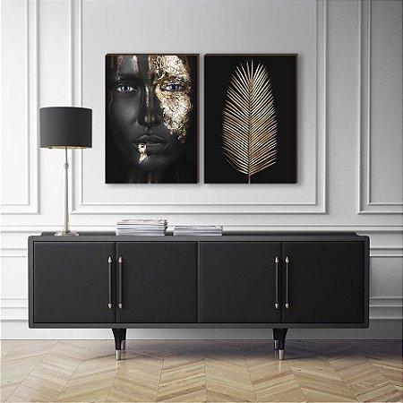 Dupla de quadros Mulher+ folhagem preto e dourado [Box de Madeira]