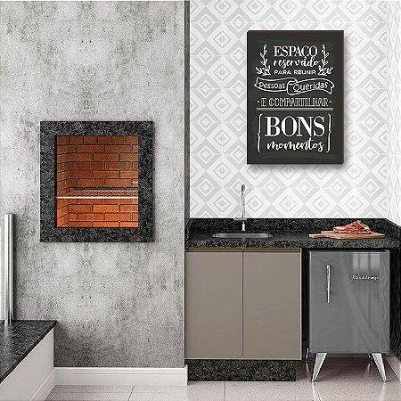 Quadro decorativo para cozinha Espaço reservado para reunir...FUNDO QUADRO NEGRO [BOX DE MADEIRA]