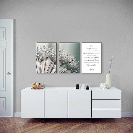 """Trio de quadros Dente de Leão+ Frase: """"Pai acampa teus anjos...""""[Box de madeira]"""