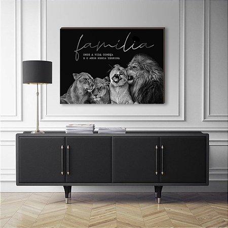 Quadro Decorativo Leão e filhotes preto e branco com frase [BoxMadeira]
