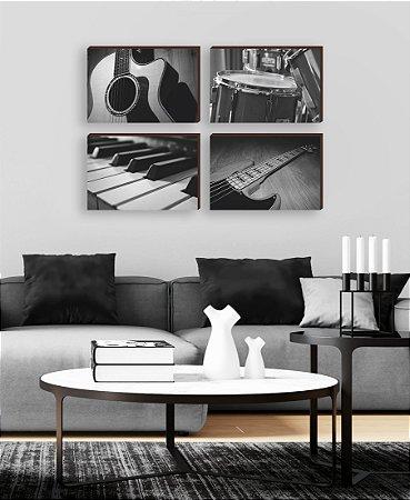 Quarteto de quadros Instrumentos Musicais  [BOX DE MADEIRA]