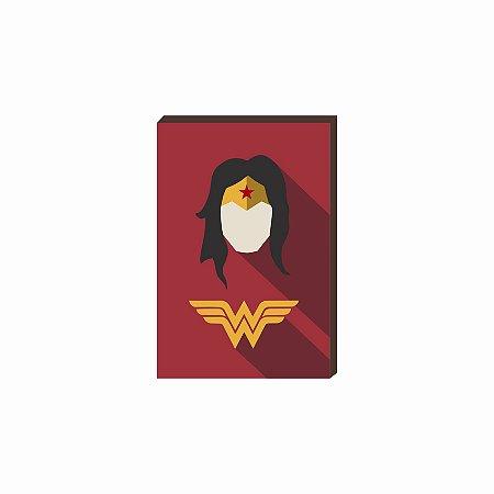 Quadro decorativo Super Herói Mulher Maravilha- DC [Box de Madeira]