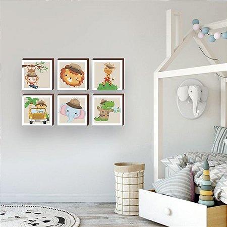 Sexteto de quadros infantil Bichos safari [BoxMadeira]