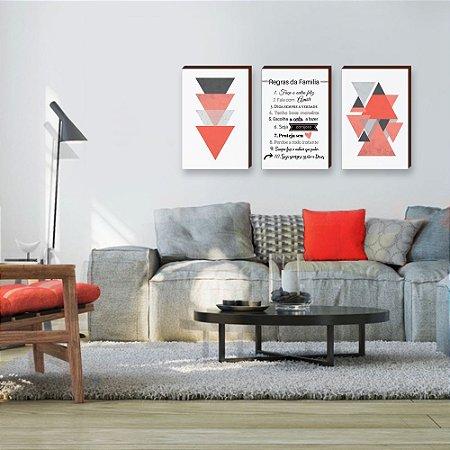 Quadros Trio Abstrato Geométrico Coral +Regras da família [BOX DE MADEIRA]