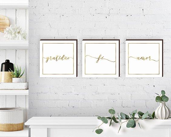Trio de quadros gratidão+fé+amor dourado [BoxMadeira]