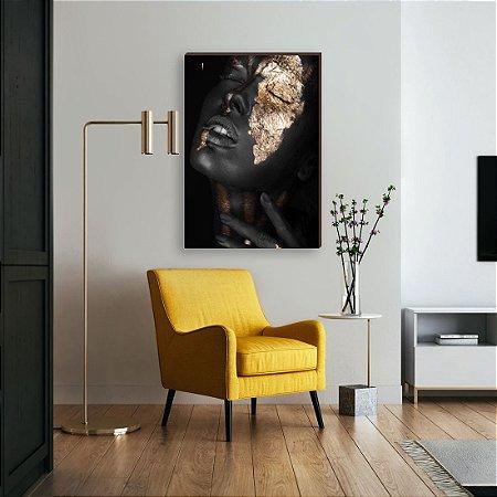Quadro decorativo Mulher preto e dourado mod. 01 [Box de Madeira]