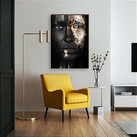 Quadro decorativo Mulher preto e dourado mod. 02 [Box de Madeira]