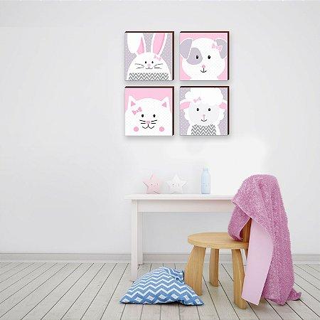 Quarteto de Quadros Decorativos infantil bichos poá - cinza e rosa [BOX DE MADEIRA]