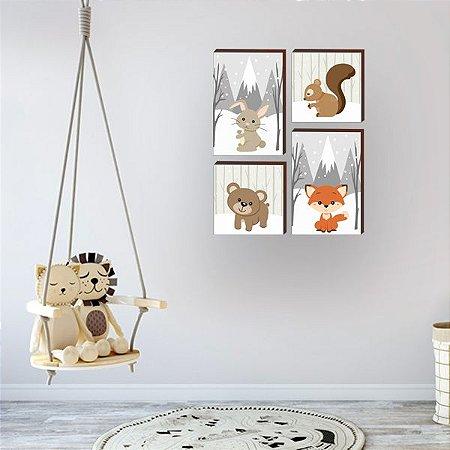 Quarteto de quadros infantil Bichos inverno [BOX DE MADEIRA]