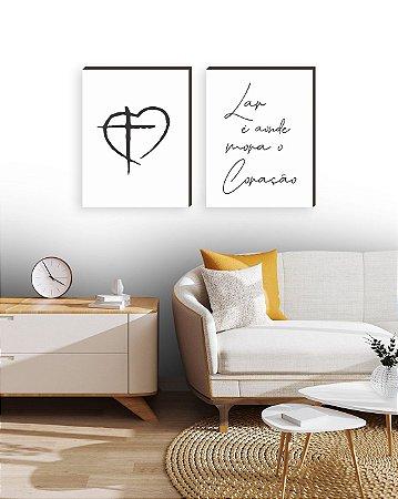 Dupla de quadros Lar é onde mora o coração + Cruz - Branco [boxdemadeira]