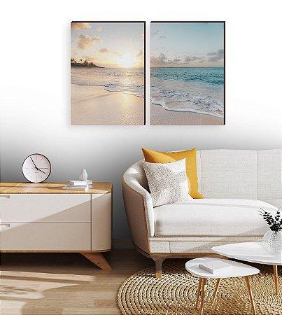 Dupla de quadros Paisagem Praia e sol [boxdemadeira]