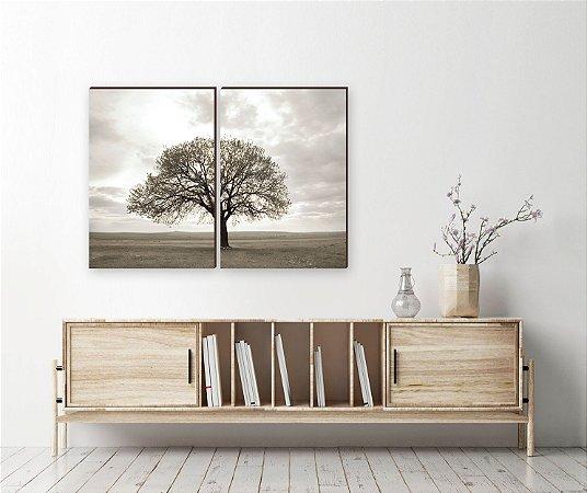 Dupla de quadros Paisagem Árvore Deserto [boxdemadeira]