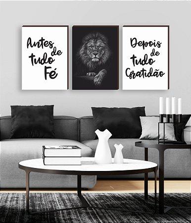 Quadros Trio Antes de tudo fé - depois de tudo gratidão + Leão pose [BOX DE MADEIRA]