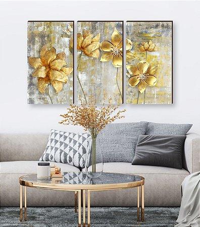 Quadros Trio Pintura Flores Amarelas [BOX DE MADEIRA]