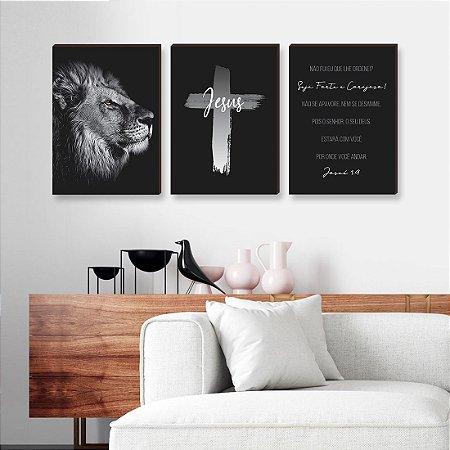 Trio de quadros Leão + Cruz Pincelada + Seja forte [BOX DE MADEIRA]