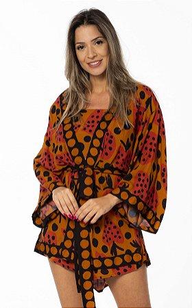 Kimono Estampado Coração de Morango Farm