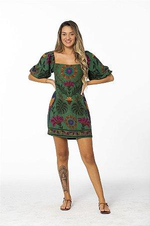 Vestido Curto Estampado Tapeçaria Tropical Verde Farm