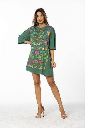 Vestido T-shirt Curto Estampado Silk Natureza Verde Esmeralda Farm