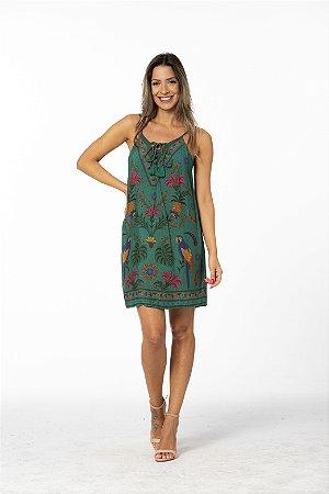 Vestido Curto com Alcinha Estampado Tapeçaria Tropical Farm.