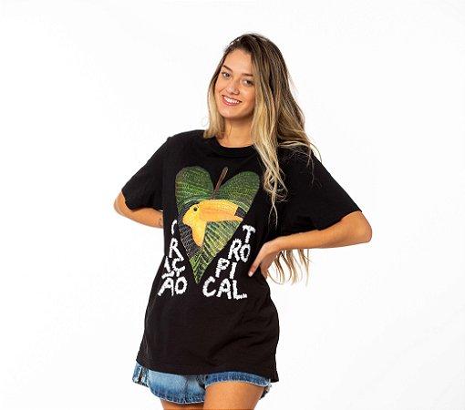 Blusa T-shirt Media Coração Tropical Farm