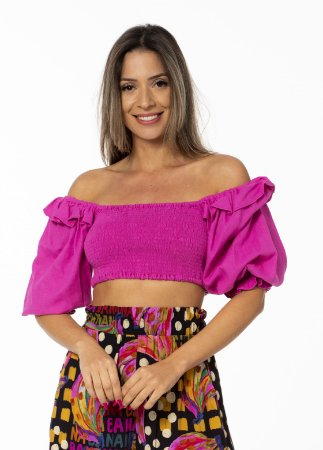 Blusa Cropped Estampado com Lástex Rosa Astromélia Farm
