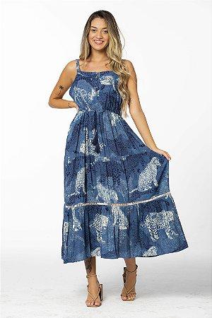 Vestido Cropped Estampado Onças Artys Azul Denim Farm