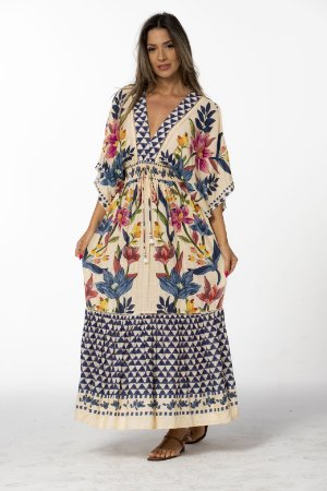 Vestido Cropped Estampado Floral Padang Lenço Farm