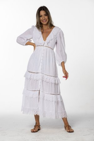 Vestido Longo com Bordado Inglês Branco Farm
