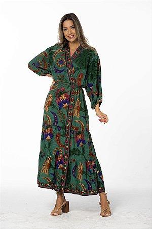 Vestido Kimono Estampado Tapeçaria Verde Farm