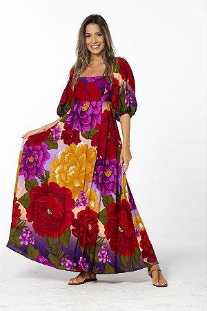 Vestido longo em Linho Estampado Sonho de Chita Farm