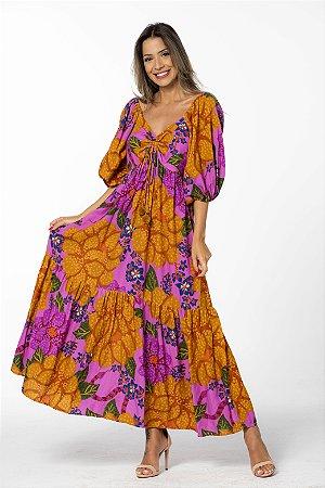 Vestido Cropped em Linho Estampado Floral Onçado Rosa Astromélia Farm
