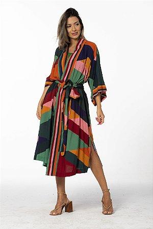 Vestido Kimono Estampado Listra Nana Farm