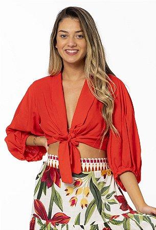 Blusa Cropped com Amarração em Linho Vermelho Enlace Farm