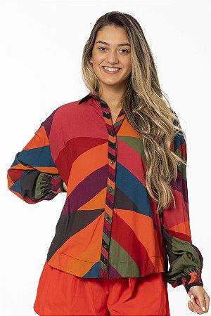 Camisa Feminina Estampada Listra Alexia Multicolorido Farm
