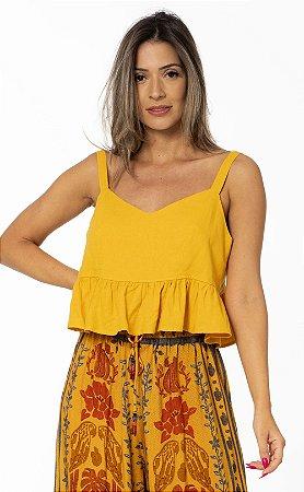 Blusa Cropped com Alça Larga Linho Amarelo Lírio Farm