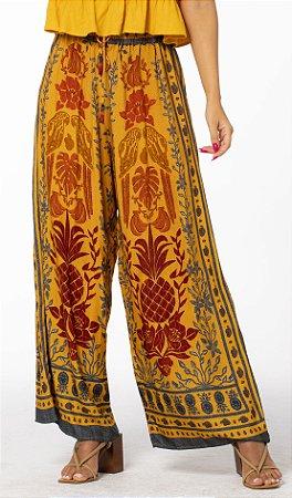 Calça Pantalona Estampada Araras de Cor Amarelo Lírio Farm