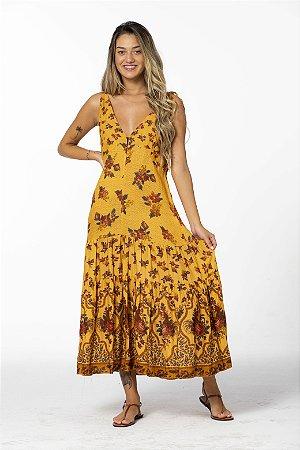 Vestido Cropped Estampado Floral Ponto Cruz Amarelo Farm
