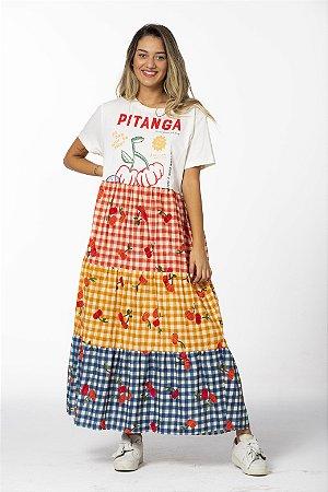 Vestido Midi Estampado Silk Pitanga Multicolorido Farm