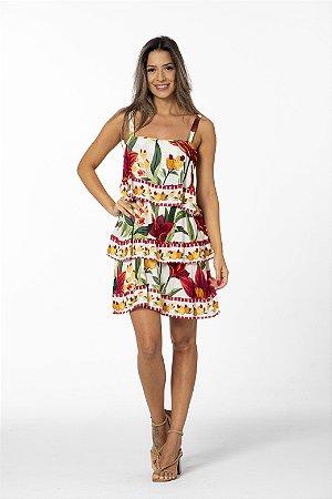 Vestido Curto Estampado Floral Padang Farm