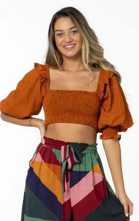 Blusa Cropped Estampado com Lástex Laranja Canela Farm