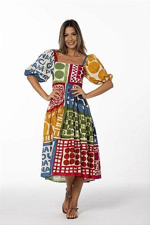 Vestido Midi Estampado Quarta-feira Patch Farm