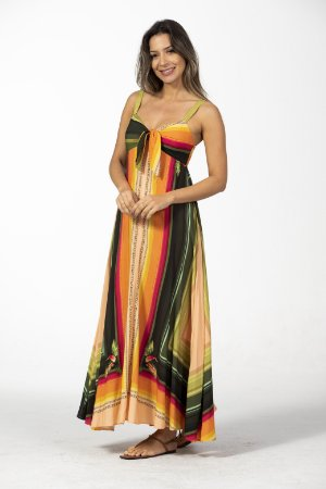 Vestido Longo Cropped Estampado Tropicano Farm