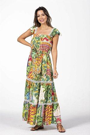 Vestido Cropped Estampado Frescor Tropical Farm