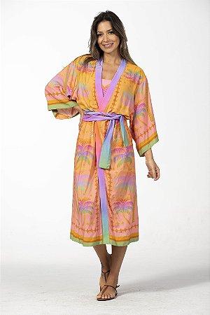 Kimono Cropped Estampado Arco Íris Farm