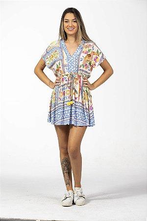 Vestido Curto Estampado Azulejo Tropical Farm