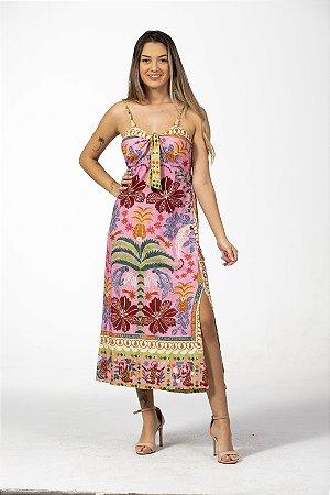 Vestido Midi Estampado Pé de Abacaxi Farm