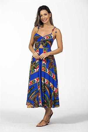 Vestido Midi Estampado Tapeçaria de Verão Azul Farm