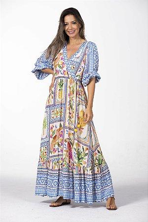 Vestido Midi Estampado Azulejo Tropical Multicolorido Farm